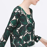 Green Leaf And Floral Print Log-Sleeve Shirt