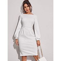 Boat Neck Zip Back Fitted Dress