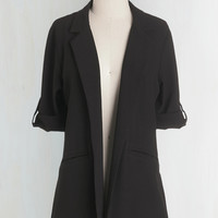 Menswear Inspired Long Long Sleeve Volunteer Coordinator Blazer in Black