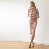 Wrap midi length pink dress, Pink formal dress with slit and long sleeves
