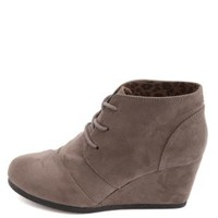 City Classified Lace-Up Low Wedge Booties by Charlotte Russe - Gray