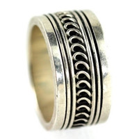 Boho Ring Stackable Spinner Band Sterling Silver