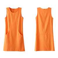 Orange Sleeveless Dress with Pockets