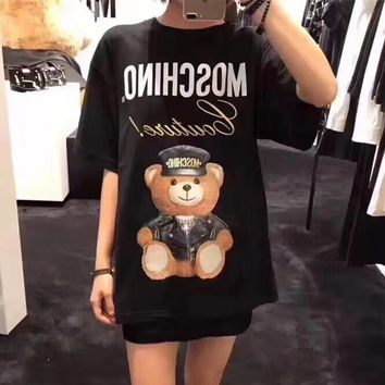 """Moschino"" Women Casual Cute Cartoon Bear Print Letter Embroidery Short Sleeve T-shirt Mini Dress"