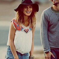 Free People Womens Towards the West Tee - Indigo,