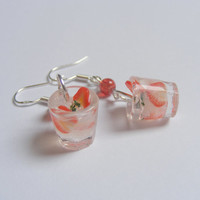 Strawberry Cocktail Miniature Food Earrings  - Miniature Food Jewelry,Handmade Jewelry Earrings