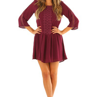 On The Right Track Dress: Plum
