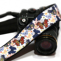Butterflies Camera Strap, White Red Blue Camera Strap, Nikon, Canon, Mirrorless Camera Strap, Women Accessories