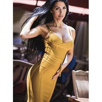 Mustard Bandage Pencil Dress