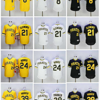 Men's Pittsburgh Pirates Baseball Jersey Throwback 21 Roberto Clemente Jersey 8 Willie Stargell 24 Barry Bonds 39 Dave Parker Cooperstown