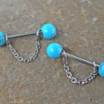 Turquoise Nipple Barbell With Chains Surgical Steel Body Piercing Jewelry