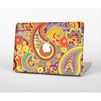 The Neon Orange Paisley Pattern Skin Set for the Apple MacBook Air 11""