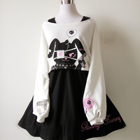 Harajuku Black Rabbit Dress 2 Pieces free shipping from HIMI'Store