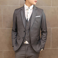 Two Button Design Slim Fit Men's Blazer Jacket
