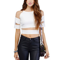 Mesh Splicing Crop Top In White