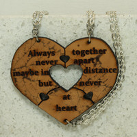 Heart Necklaces set of 3 Always Together quote Best Friend Jewelry Natural leather