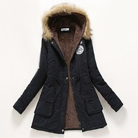 Winter Coat Women 2016 New Parka Casual Outwear Military Hooded Thickening Cotton Coat Winter Jacket Fur Coats for Women