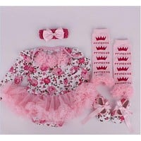 baby girl floral romper set photo shoot outfits Birthday Girls Dress Cute Kid Clothing Tutu dress Long Sleeve baby girl outfits