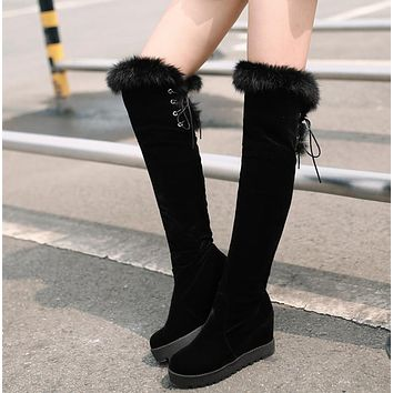 Women Over the Knee Boots Fur Wedges Platform Black High Heels Winter Shoes Woman 2016 3507