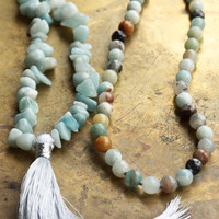 Long blue beaded necklace Beach boho amazonite semi precious stones Thai silver shell and fish charm Grey tassel Seafoam toned necklace