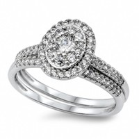Shae's Sterling Silver Oval Halo Style CZ Wedding Ring Set