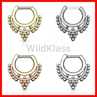 Beaded Collar IP 316L Surgical Steel Septum Clicker 16g Earring 14g  Cartilage Piercing Tragus Helix Conch Nose Septum Ring - Sold by Piece