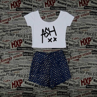ASH ashton irwin 5sos Seconds Of Summer White Crop Top Ladies Short Sleeve Stretch T Shirt Tee