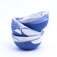Set of Three Blue Two Tone Bowls
