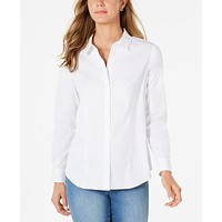 Charter Club Classic Button-Front Shirt, 10/White