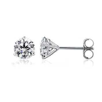 14k White Gold Round Diamond Stud Martini Earrings (0.25 cttw F-G Color, SI2 Clarity)