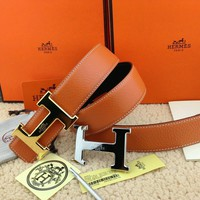 =New Authentic Hermes Men's Belt 38mm Orange Buckle Double 2H Gold-Silver 110cm