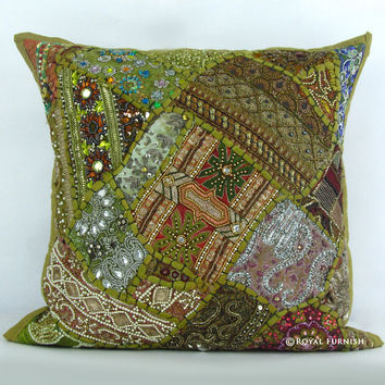 Unique Green Heavy Bead Works & Embroidered Decorative Throw Pillow Case Sham