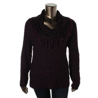 NY Collection Womens Marled Fringed Pullover Sweater