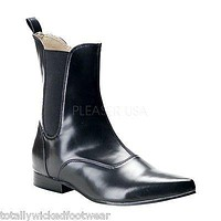 Brogue 02 Mens Black Pointy Toe Dress Pull On Ankle Boot Goth 8-13