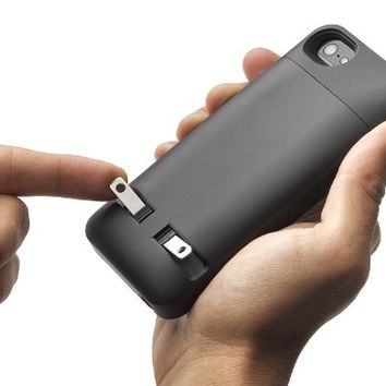 Prong 1040101 Pocket Plug Protective Case with Built-in A/C Charger for iPhone 4/4S - Slate