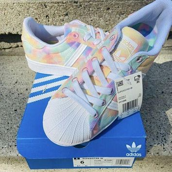 """Adidas Superstar """"Multicolor / Tie Dye"""" classic all-match shell-toe sneakers shoes"""
