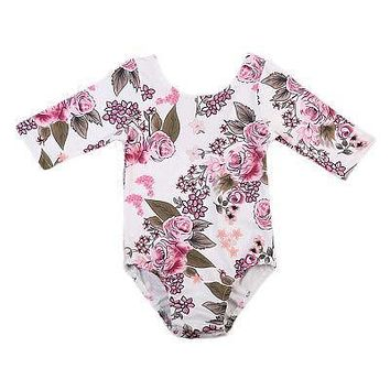Pudcoco New Kids Baby Dance Long Sleeve Clothes Girls Princess Floral Romper Jumpsuit Outfits Autumn Cotton One-Piece