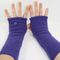 Arm Warmers in Blueberry Angora  Sleeves  Recycled  by mirabeans
