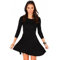 Missguided - Poulina Value Long Sleeve Skater Dress In Black