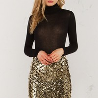 Sequin Midi Skirt in Rose Gold and Gold