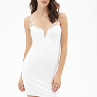 FOREVER 21 Cutout Bodycon Cami Dress Cream