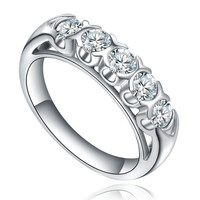 Stainless Steel 5-Stone Cubic Zirconia Ring