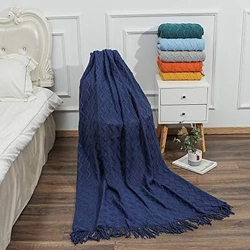 Kindred Home Knitted Blanket Textured Solid Super Soft Decorative Throw Blanket with Tassels Cozy Plush Lightweight Fluffy Woven Blanket for Bed Sofa Couch Cover Living Bed Room