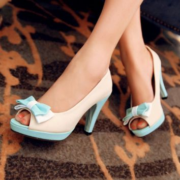Peep Toe Bow Chunky Heel Pumps Platform High Heels Fashion Women Shoes 3739