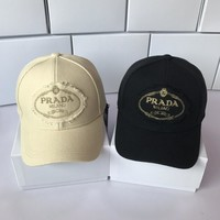 """Prada"" Unisex All-match Classic Denim Letter Embroidery Baseball Cap Couple Peaked Cap Sun Hat"