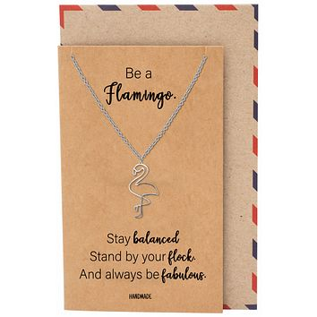 Belva Flamingo Pendant Necklace, Gifts for Women with Inspirational Quote on Greeting Card