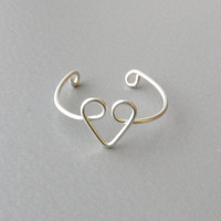 Adjustable Sterling Silver Heart Ring, Silver Heart Ring, Adjustable Silver Wire Ring, Dainty Ring, Simple Ring