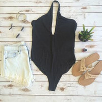 Simple Grey Halter Bodysuit