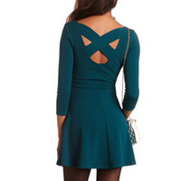 TEXTURED BACK CUTOUT SKATER DRESS