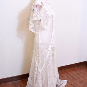 1980s Dress / VINTAGE / Lace / Satin / 1930s Style / Art Deco / Roses / Champagne / Gown